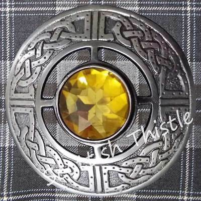 "Men's Fly Plaid Brooch Yellow Stone 3""/Kilt Fly Plaid Brooches Silver Antique"