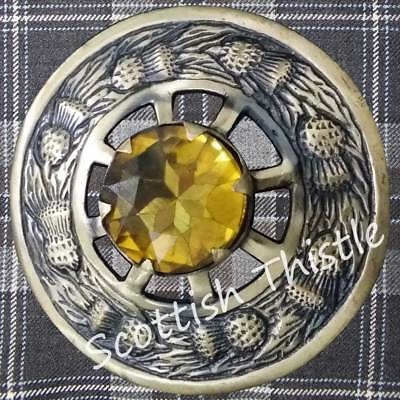 "Men's Scottish Fly Plaid Brooch Yellow Stone 3""/Antique Brooch Kilt Fly Plaid"