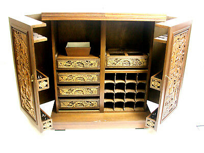 Early-Mid Century Antique Chinese  Carved  Wood Bar,cabinet,court Scenes