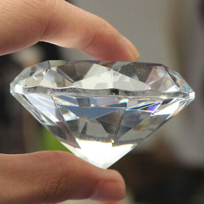 BU_ 1pc Crystal Clear Paperweight Faceted Cut Glass Giant Diamond Jewelry Decor