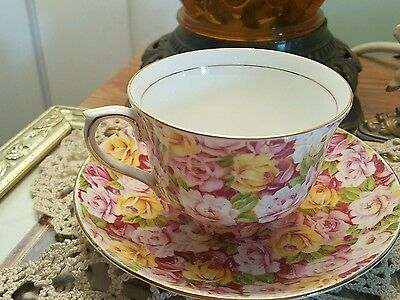 Genuine Bone China Vintage Rose Chintz by Colclough Tea cup