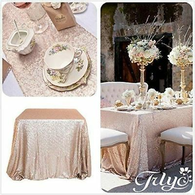 """Trlyc 14*108""""champagne Sequin Tablerunner Fabric for Wedding Party Banquet"""