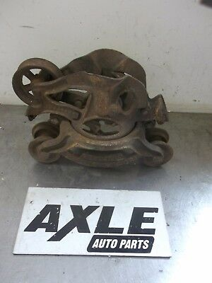 Antique Ney Mfg Co Canton Oh Barn Hay Trolley Carrier Pulley Cast Iron Steampunk