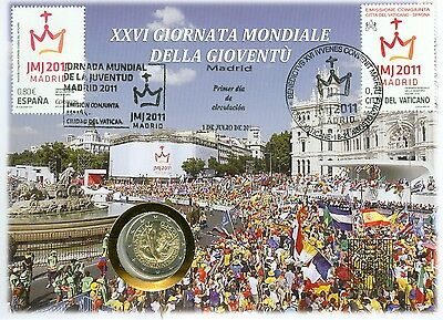 2011 Vatican City/ Spain  Youth Day Mixed Franking FDC w/ 2 Euro Coin