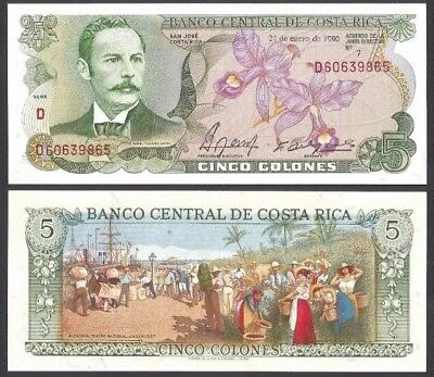 COSTA RICA 🇨🇷 5 Colones, 1989, P-236d, UNC World Currency