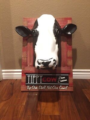 Tippy Cow rum cream wood advertising,From America's Dairy land Framed Cow Head