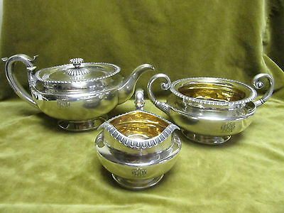 early 19th c George IV english sterling silver tea set 1442gr (london 1828)