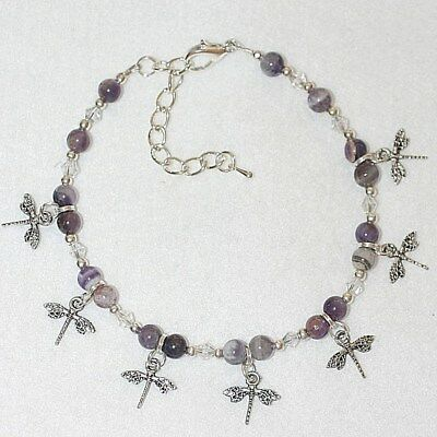 Precious Amethyst Gemstone Dragonfly Silver Plated Beaded Anklet Ankle Bracelet