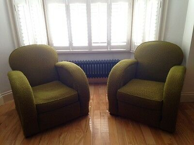 FINAL RECDUCTION! A Beautiful Pair of Antique 1930's Art Deco Club Chairs.