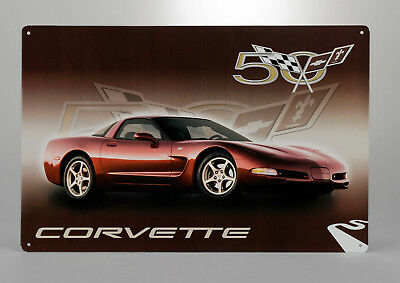 Tin Metal Wall Sign (2003 Corvette 50th Anniversary Car) GM Licensed