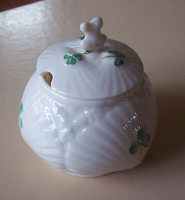 Vintage Belleek Irish Porcelain Shamrock Mustard Pot with Lid