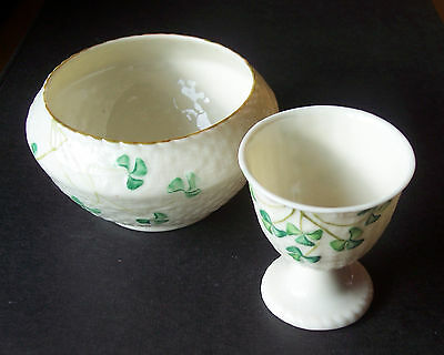 Vintage Belleek Irish Porcelain Sugar Bowl and Egg Cup - Shamrock Basket Weave