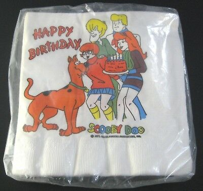 Vintage 1972 Scooby Doo and the Gang Paper Napkins Happy Birthday Unopened Pkg