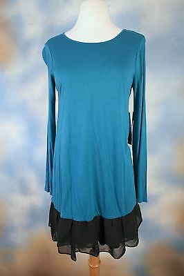 NEW KENSIE soft teal green layered look mini dress or tunic SZ: XS