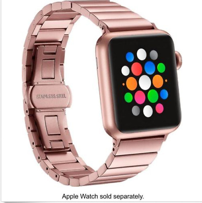 Platinum - Link Stainless Steel Band for Apple Watch38mm - Rose Gold