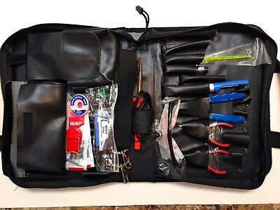 17 pc Electronic Technician Tool Kit in Zippered Corduroy Bag Black