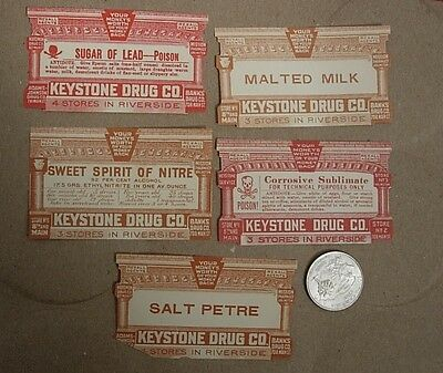 5 Early 1900s KEYSTONE DRUG CO LABELS 2 for POISON Riverside CA