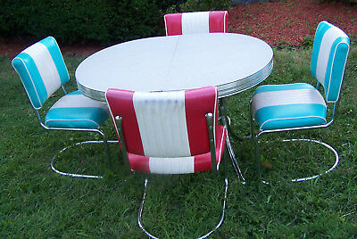 Set of 4 Vintage 1950s CHAIRS w/ Reproduction Formica Table - VGC!