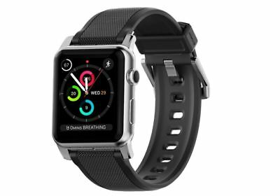 Nomad 42mm Silicone Strap for Apple Watch Vulcanized LSR Stainless Steel Silver