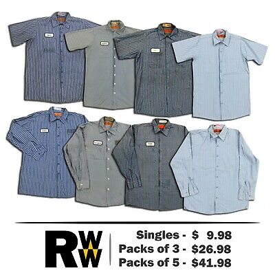 Red Kap Shirt Stripe Poplin Short & Long Sleeve Mens Work Uniform THREE FOR $15