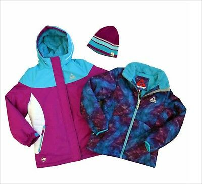 Girls All Weather Hooded Jacket Size S 7 8 Purple Winter Coat Knit Beanie NWT