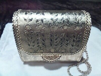 Vintage Walborg Italian Metal Gold Hard Case Purse with Chain