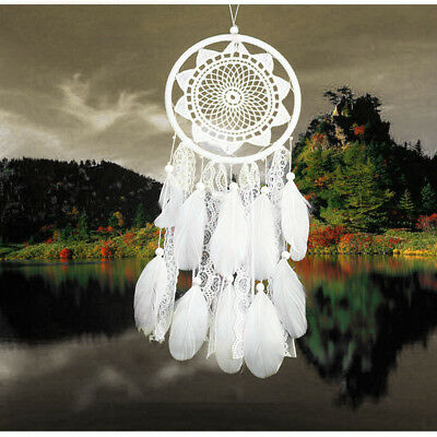 Handmade Dream Catcher with Feather Wall Hanging Decoration Ornament Gift White