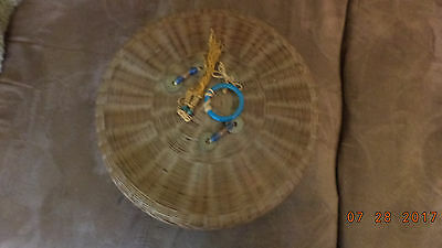 Vintage Antique Chinese Sewing Basket with Lid Tassels Coins Ring Beads
