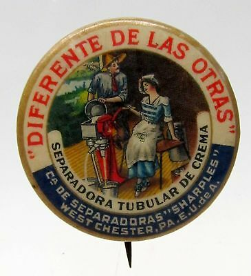 rare Spanish 1896 SHARPLES CREAM SEPARATOR Dairy pinback button *