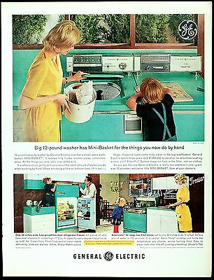 1963 GE Turquoise Household Appliances Kitchen Washer Dryer Laundry Vtg PRINT AD