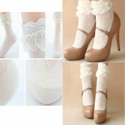 US Sweet Cute Women Ladies Princess Girl Vintage Lace Ruffle Frilly Ankle Socks