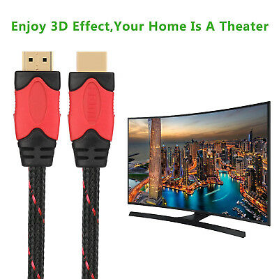 Premium HDMI Cable Braided Gold Plated High Speed Audio 3D 4K HD 3ft 6ft - 30ft