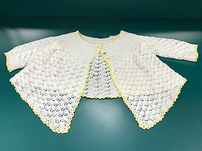 Vintage Baby Toddler Girl Yellow & White Hand Crochetted About 3T