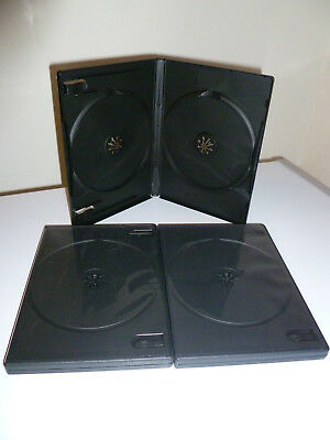 (3) New Standard 14mm Double Disc Empty Replacement DVD Cases Black Hold 2 Discs