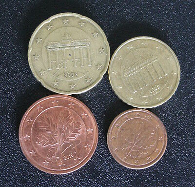4 circulated Euro coins (Germany) - 20c, 10c, 5c, 1c