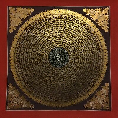 Large Handpainted Tibetan Chinese Om Mandala Thangka Painting Buddha Mediataion