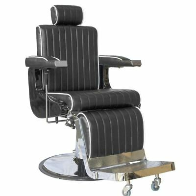 Professional Barber Vintage Cutting Chair Brown Black Red Adjustable Reclining