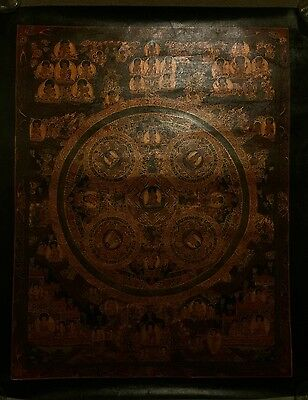 Rare Original Tibetan Chinese HandPainted  Buddha Mandala oil Painting Thangka