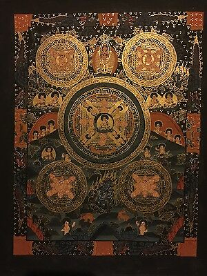 Tibetan Chinese HandPainted Signed Buddha Mandala thangka Painting Meditation p