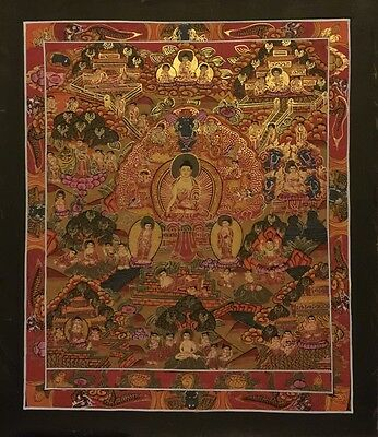 Rare Tibetan Chinese HandPainted Buddha Mandala thangka Mediation Painting a11