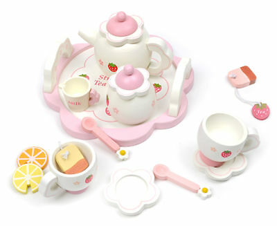 Kid Gift Wooden Pretend Play Toy Cherry Bear Chocolate Dessert Party Set Tea Cup