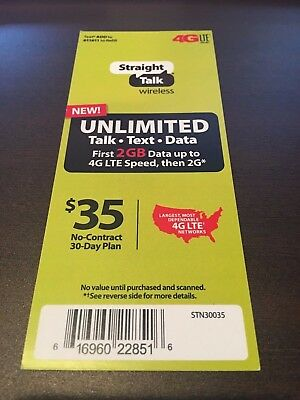 STRAIGHT TALK WIRELESS - $35 Unlimited Talk, Text, Data (2GB LTE) Refill  Card