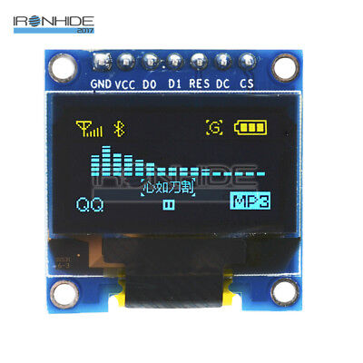 "Blue Yellow 0.96"" I2C IIC Serial 128X64 OLED LCD LED Display Module for Arduino"