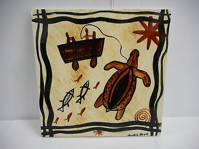 Martin Boyd Hand Painted Tile Decorated With Tortoise / Australian Pottery