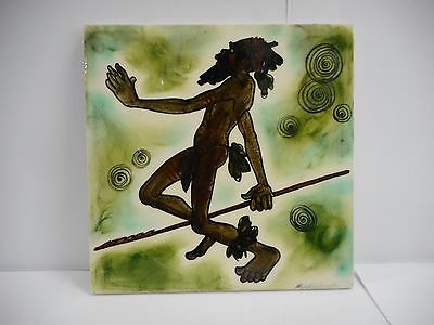 Signed Martin Boyd Hand Painted Tile Decorated With Aboriginal Elder / Australia