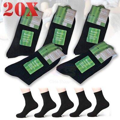 20 x Pairs Black Bamboo Fibre Adults Men Socks Odor Resistant Healthy Natural OZ