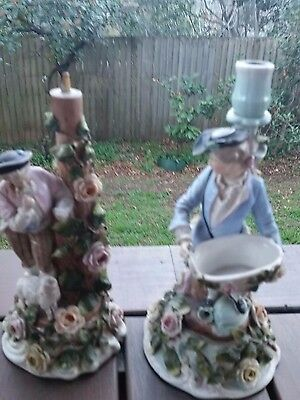 Antique DresdenGerman Sitzendorf Meissen PAIR OF MEN CANDLE HOLDERS