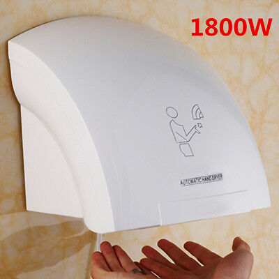 New 1800W Automatic Wall Mounted Electric Hand Dryer Warm Air Drier Toilet Home
