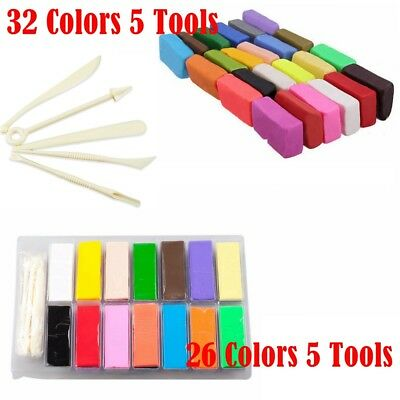 26/32pcs Colour Oven Bake Polymer Clay Block Modelling Moulding Sculpey Tool set