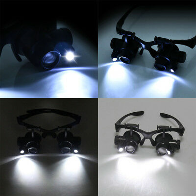 Magnifier 8 Lens Magnifying Eye Glass Loupe Jeweler Watch Repair with LED Light